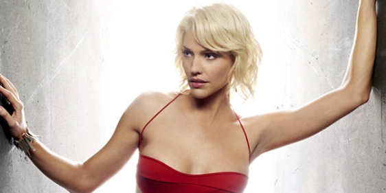 Battlestar Galactica's Caprica Six looking Six-ish, i.e., sultry and loungey.