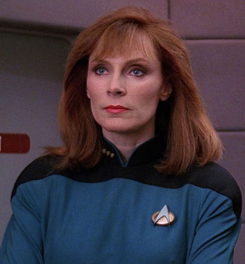 Dr. Beverly Crusher looking suitably stern