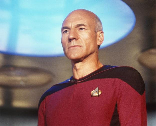 Picard staring intently ahead