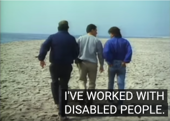 "Highway to Heaven screenshot of Michael Landon, Victor French and guest star walking on a beach. Landon: ""I've worked with disabled people."""