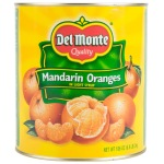 "A bright yellow can with red and green that reads ""Del Monte Mandarin Oranges in Light Syrup."""