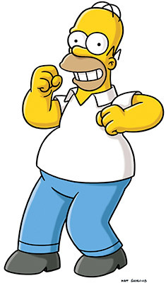Homer Simpson, looking excited