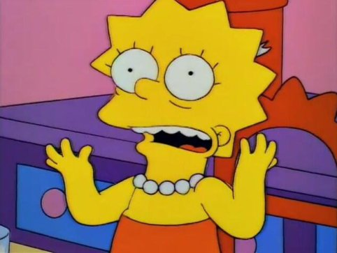 Lisa Simpson throwing up her hands in horror