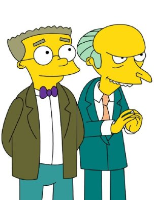 Smithers and Mr. Burns, the former looking wistful and the latter doing that I'm-crafty thing with his fingers