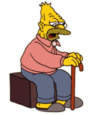 Abe Simpson, copping a squat on a bench and holding his cane