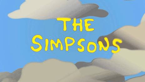 The Simpsons title against clouds in a blue sky