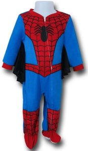 A red, blue, and black Spiderman costume for a child.