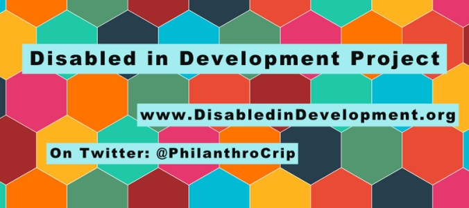 Banner of coverful hexagonal pattern with Disabled in Development Project www.DisabledinDevelopment.org On Twitter: @PhilanthroCrip